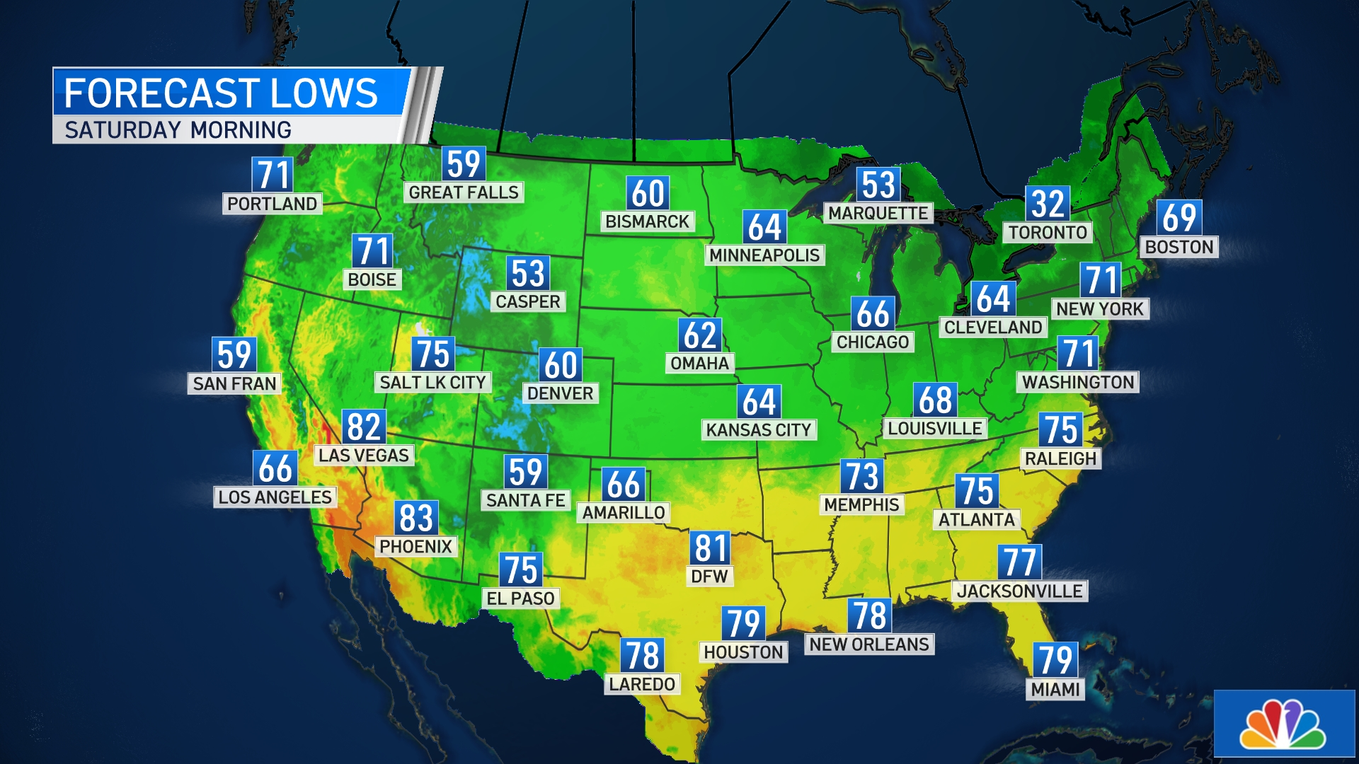 NATIONAL FORECAST LOWS